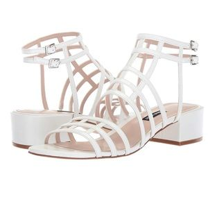 nine west white leather caged sandals